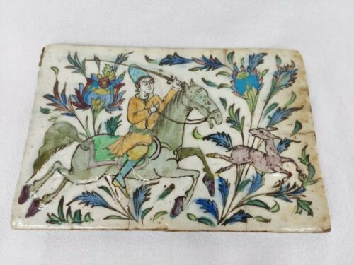 LARGE ANTIQUE LARGE 19 C. POLY CHROME PERSIAN TILE MAN ON A HORSE HUNTING