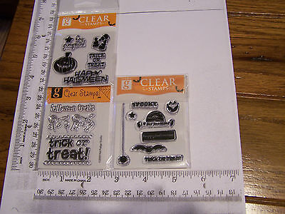 HALLOWEEN TRICK OR TREAT CANDY SPIDER BAT  STUDIO G CLEAR RUBBER STAMPS RETIRED - Studio G Halloween Clear Stamps