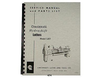 Cincinnati Lrt Hydrashift Lathe Service Manual Parts List 474