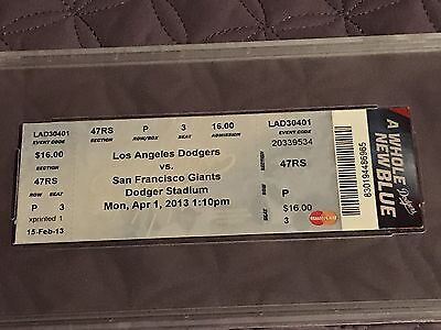 Clayton Kershaw HR Home Run #1 Ticket Los Angeles Dodgers 4/1/2013 PSA 5