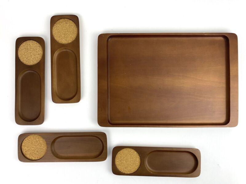 Vtg Mid Century 50s 60s 70s Wood Snack Plate Set Tray TV Serve Ware Bar Coaster