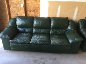 Dark Green Leather Sofa and Chair