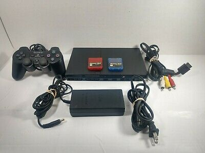 SONY PLAYSTATION 2 PS2 SLIM CONSOLE BUNDLE , Controller 2 memory cards all cords