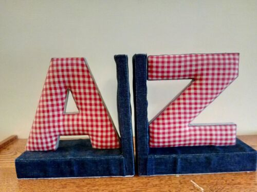 A & Z Book Ends covered in Denim and Plaid Pattern