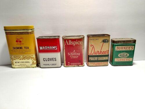 Lot of 5 vintage spice tins, Schilling, Durkee