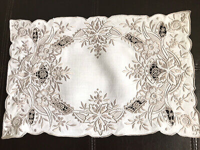 Vintage Hand Embroidered White Linen Silvery Taupe Silk Table Centre Tray Cloth
