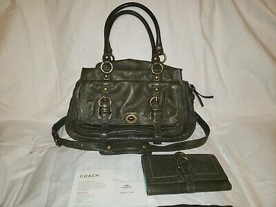 Coach Olive Green Legacy Garcia Purse style 12704 + matching wallet