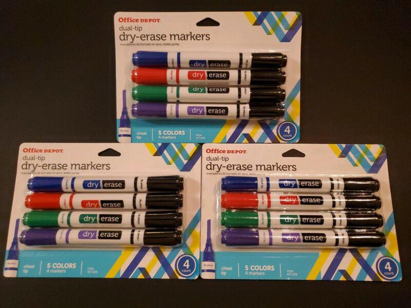 BUNDLE - Office Depot Dual-tip Dry-erase Markers 3x 4pk (5 colors)