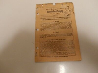 1925 Booklet-SERVICE INFORMATION--INGERSOLL-RAND CO.USE CARE OF PNEUMATIC (Ingersoll Rand Co Tool)