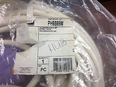 HUBBELL PH6599W TELEPHONE CABLE SET 50 FOOT WHITE FOR MARINE AND RV USE