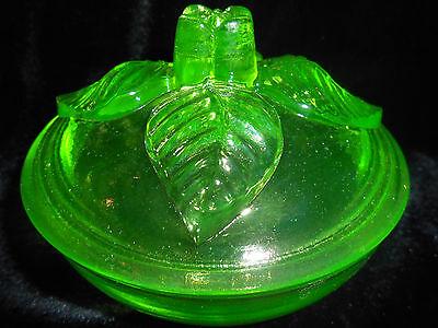 neon Green Vaseline Uranium glass rose powder jewelry box covered candy dish art