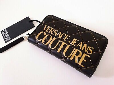 New Versace Jeans Couture Black Quilted Zipped Purse Gold Logo Authentic Large