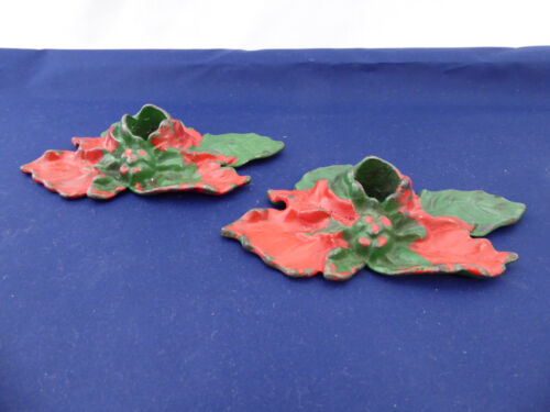 Vintage Cast Iron Holly Candle Holders Christmas
