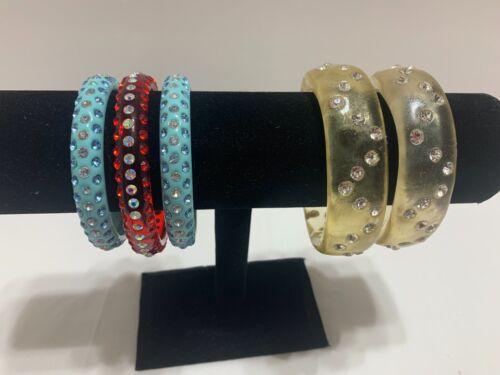 Vintage Celluloid And Lucite Rhinestone Bangle Bracelets Lot Of 5