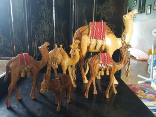 4 Hand Carved Vintage Wooden Camels and donkey Beautiful Wood Grain