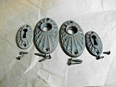 Antique Brass Oval Starburst Door Knob /KeySet Escutcheons Aged covid 19 (Oval Knob Antique coronavirus)