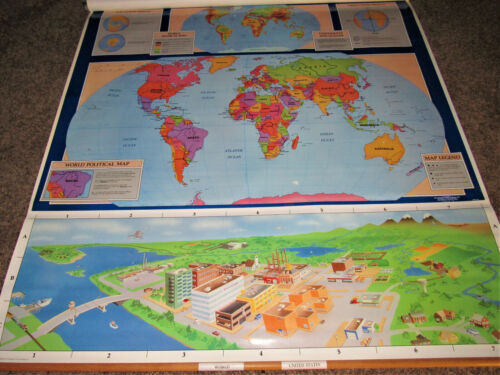 Map World United States Pull Down Political Physical Elementary School G. Cram