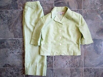Trousers Etc New York Pant Suit 2-Piece 8 Medium 100% Linen Flax Green 28x22 VTG