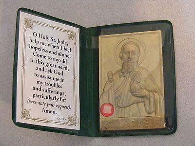 Old stock medal pocket shrine St Jude hopeless cases relic prayer card folder
