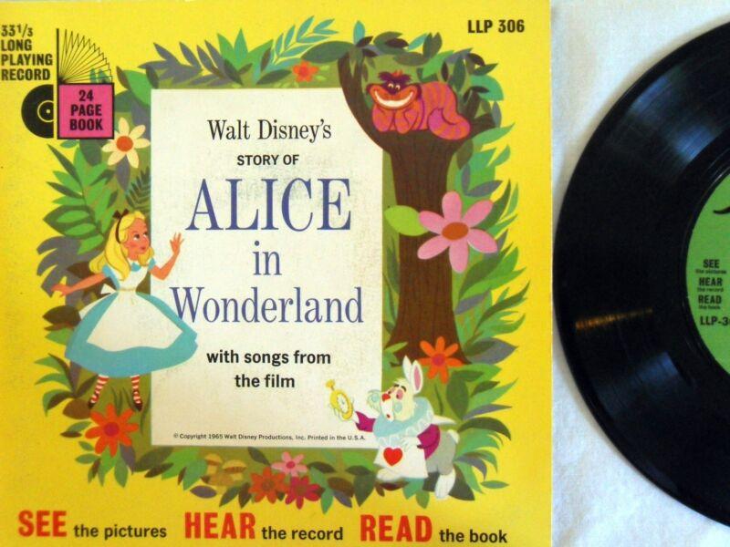 ALICE IN WONDERLAND Carroll LLP 306 Disney Read Along Book Lyrics & Record VG+