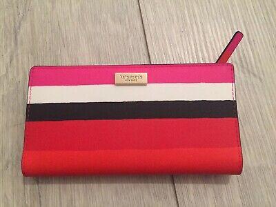 KATE SPADE Stacy Laurel Way Bonita Stripe Multi Red Pink Bifold Leather Wallet
