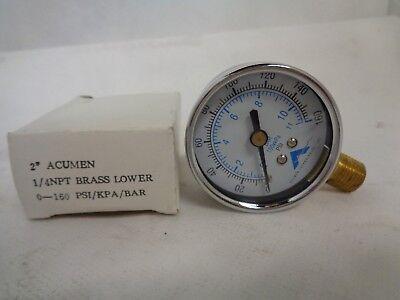 New Acumen 2  Gauge 1 4 Npt Brass 0 160 Psi Kpa Bar