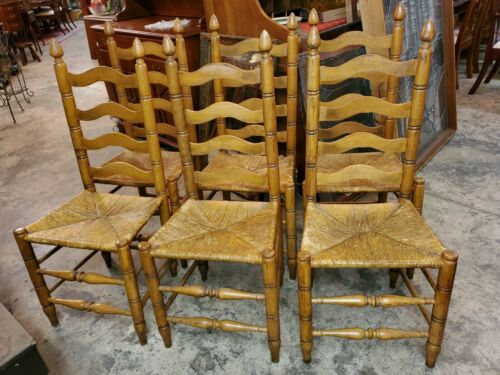 6 Antique Ladder Back Oak Chairs - rush seats - Excellent