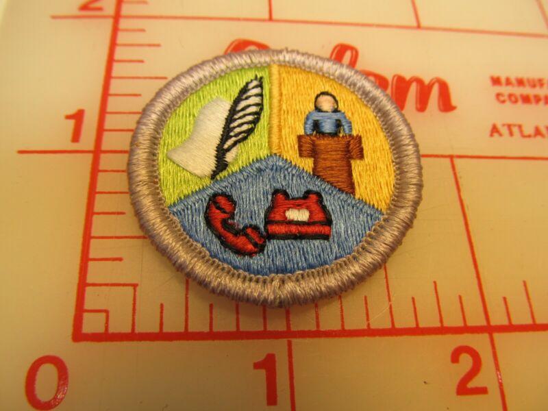 Scout stuff backed COMMUNICATIONS merit badge emblem patch (yZ)
