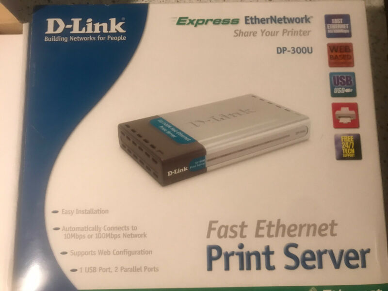 D-Link DP-300U Ethernet Multi Port Print Server Open Box