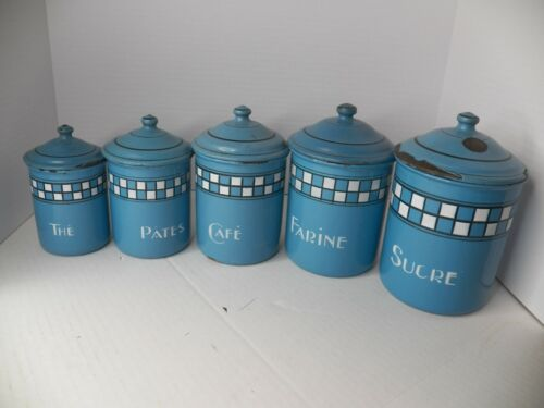 VINTAGE ENAMELWARE 5 PIECE FRENCH CANISTER SET W/ LIDS
