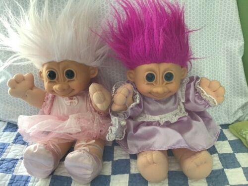 "Vintage Russ Berrie 11"" Troll Dolls Pink Ballerina & Purple Flower Girl LOT of 2"