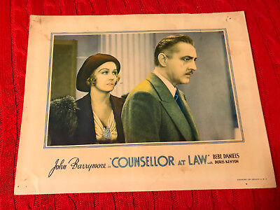 Counsellor At Law 1933 Universal  looby card John Barrymore Doris Kenyon
