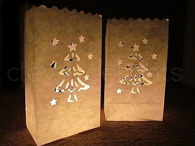 30 Luminary Bags - White - Christmas Tree - Christmas Holiday Decor Luminaria ()