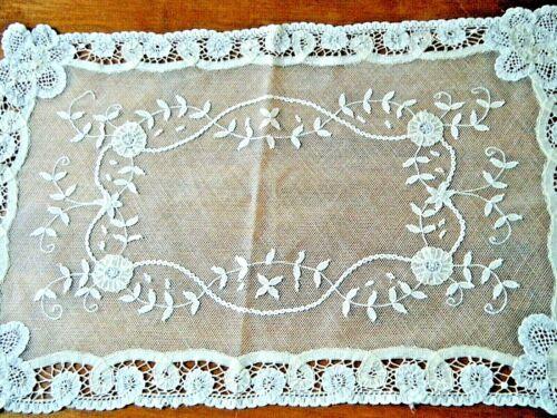 Antique Runner Brussels Princesses lace mesh /net floral design hand made