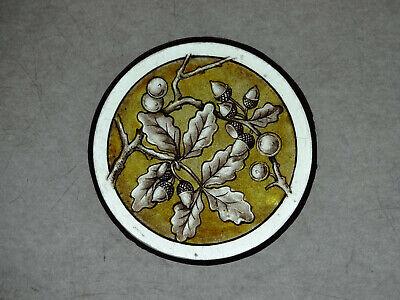Beautiful Stained glass OAK Hand painted Kiln fired Diameter-120mm Antiq style