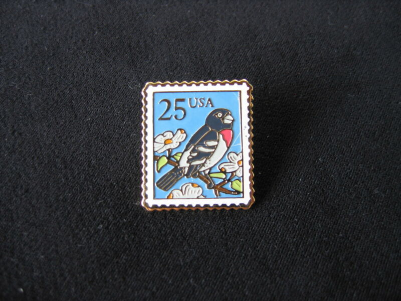 Rose-breasted Grosbeak Bird 1988 Scott #2284 25c STAMP PIN postage pinback NEW