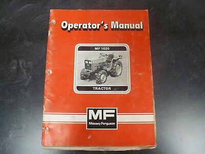Massey Ferguson Mf1020 Tractor Owner Operator Maintenance Manual