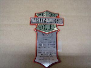 Harley Davidson Wrap Around Oil Tank PATENT Name Plate NOS OEM Part #66041-05