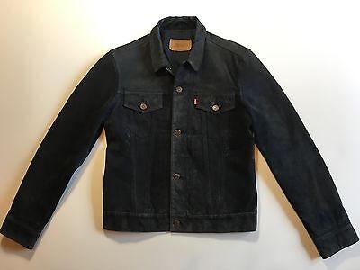 Vintage Wmns Black Suede Levis Leather Trucker Jacket size Large S