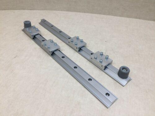 Lot of 2 Aluminum Guide Rails Bearing Blocks Rail w/ bolts on Block Bumper stops