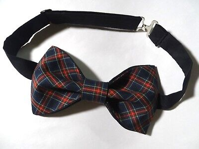 NEW Handmade Mens Black/Red Christmas Plaid Bow tie Tied Adjustable Holiday Tie Holiday Plaid Bow Tie