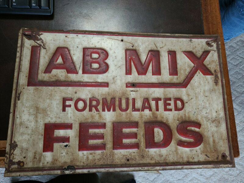Vintage 17.5x12 Lab Mix Farm Feeds Tin Embossed Sign