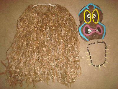 Halloween Costume - African Tribal Mask Tree Face Voodoo Witch Doctor Tiki Skirt
