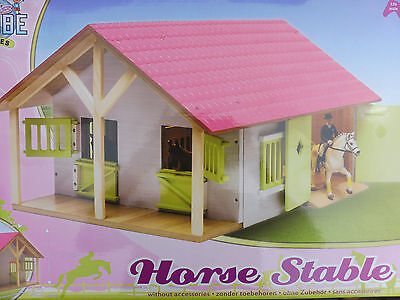 Kids Globe Pferdestall 1: 24 für Schleich Pferde Holz Stall Reiterhof rosa