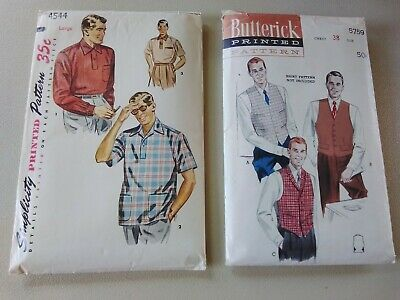 1940s Men's Shirts, Sweaters, Vests Vintage Men's Sewing Patterns Simplicity and Butterick Used 1940s/1950s $8.00 AT vintagedancer.com