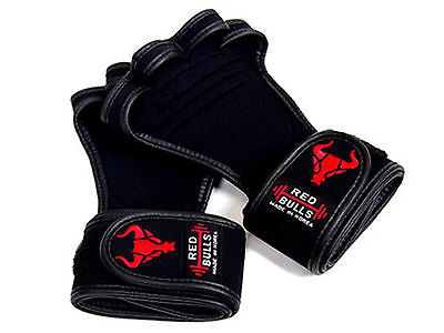 WORKOUT GLOVES BLACK Professional GYM Fitness Lifting Wristwrap Straps Training