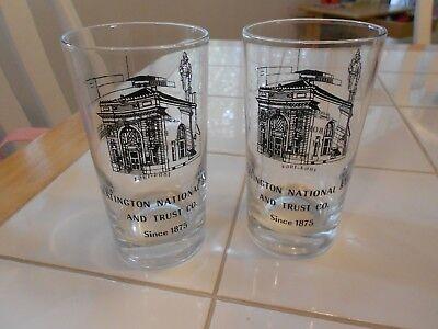 "VINTAGE (2) SLATINGTON NATIONAL BANK/TRUST GLASSES- 1864-1964  VG+ 4 1/2"" TALL"