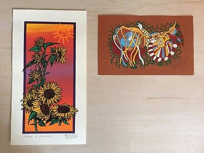 Silk screen printing Puerto Rican sunflowers & festivity - set of 2 - by Eis Lee for sale  Shipping to Canada