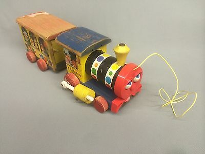 FISHER PRICE Toys, #192 Playland Express, Wooden Train Car Set, Pull Toy