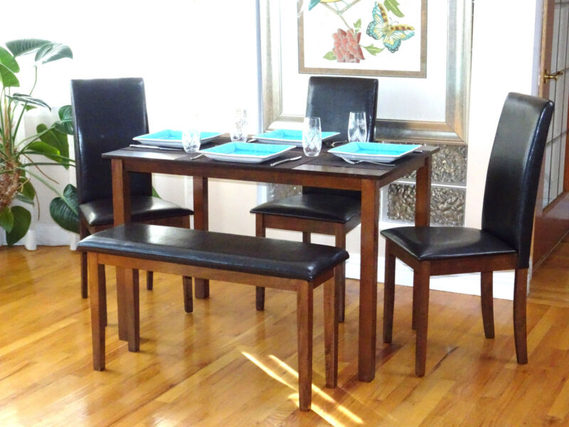 5 Pc Dining Kitchen Set Rectangular Table 3 Fallabella Chairs Bench Dark Walnut